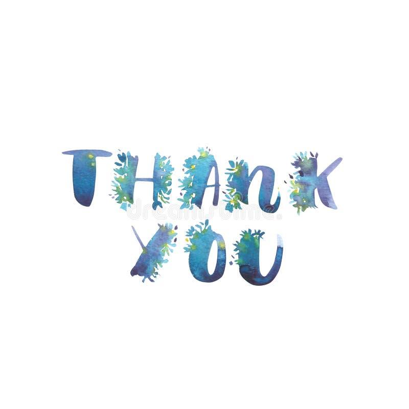 Vattenfärguttrycket - tacka dig Exklusiva beställnings- tecken Handbokstäver och typografisk konst för designer: Logo för vektor illustrationer