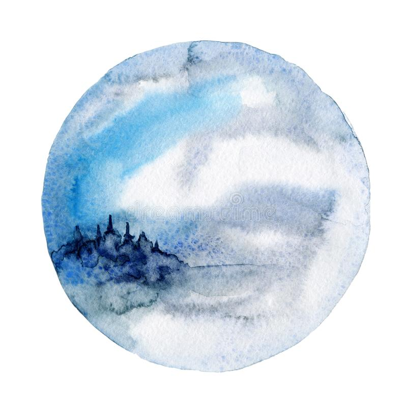 Vattenfärgväggkonst, vinterlandskap vektor illustrationer