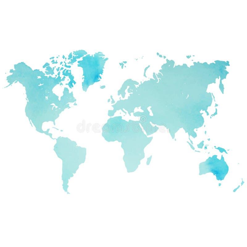 Vattenfärgvärldskarta i vektor på wightbakgrund vektor illustrationer