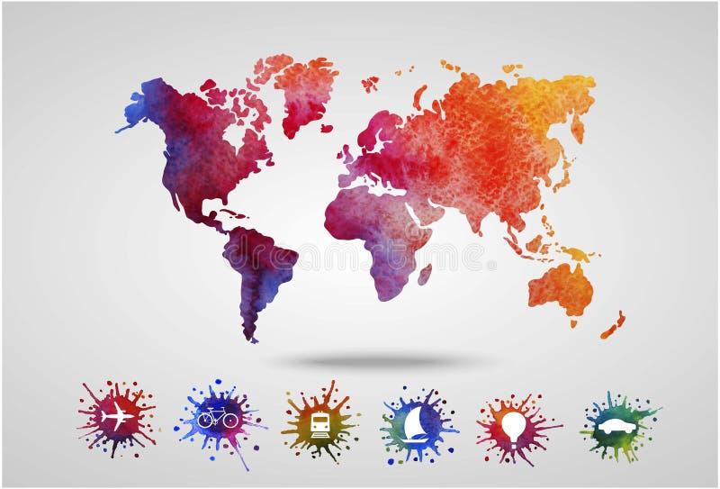 Vattenfärgvärldskarta med transportsymbolsuppsättningen stock illustrationer