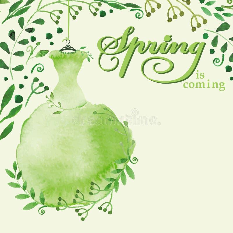 Vattenfärgvårbakgrund Grön klänning stock illustrationer
