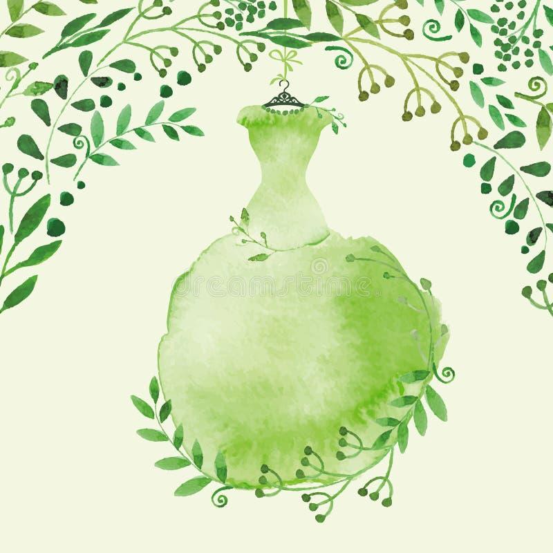 Vattenfärgvårbakgrund Grön klänning och vektor illustrationer