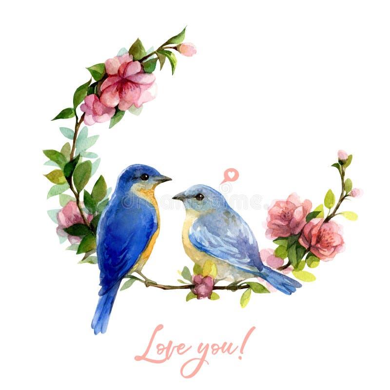 Vattenfärgvårillustration med den blåa fågel- och blommakransen som isoleras på vit bakgrund vektor illustrationer