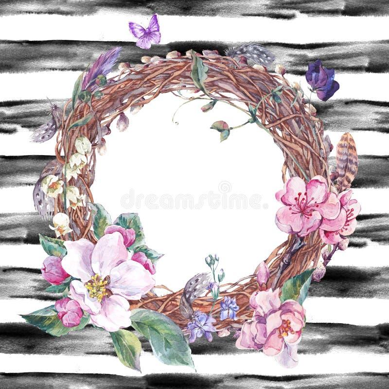 Vattenfärgvårkrans, bukett med blomningäppleträdet vektor illustrationer