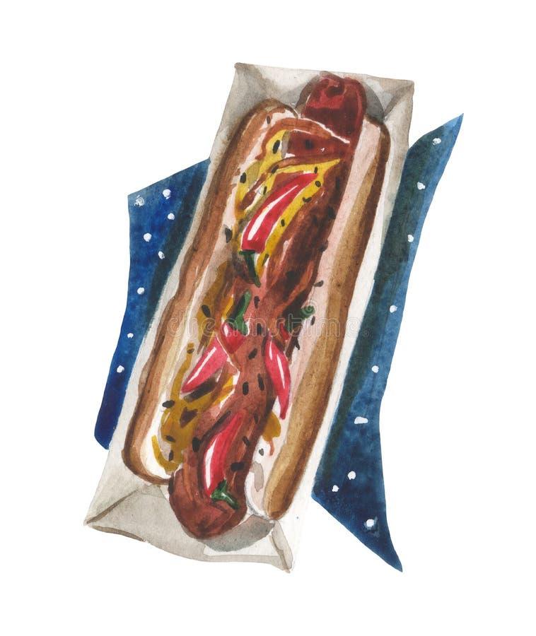 Vattenfärgvarmkorv med varm senapsgult sås, röda peppar i packen och på en servett med stjärnor royaltyfri bild