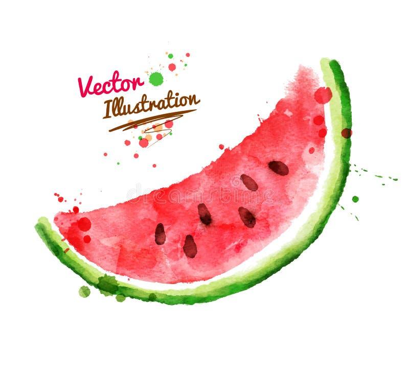 Vattenfärgvattenmelon stock illustrationer
