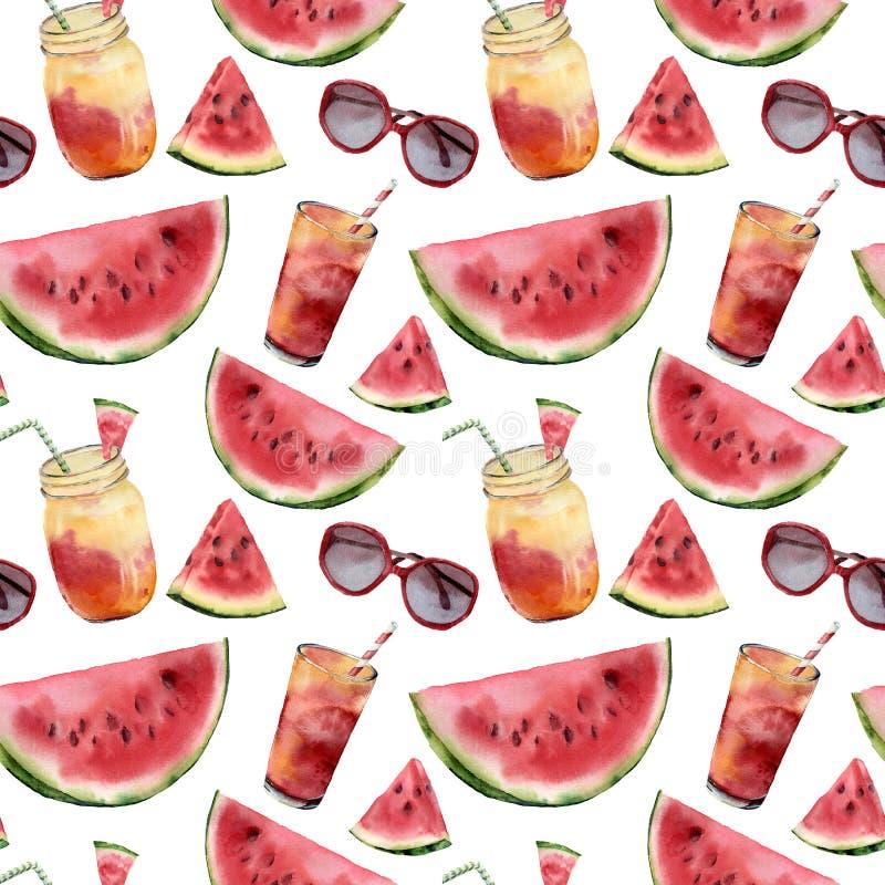 Vattenfärgvattenmelon, sunglass och sömlös modell för coctail Hand målad vattenmelonskiva med fruktcoctailen fotografering för bildbyråer