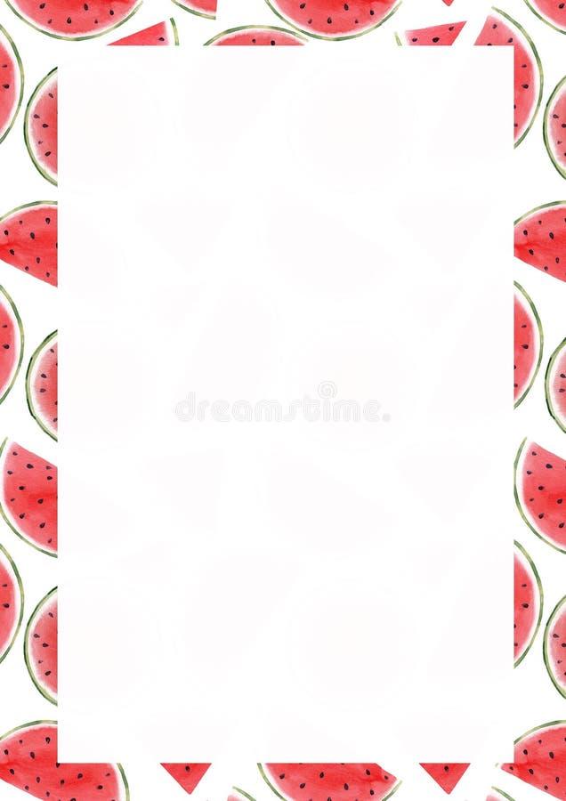 Vattenfärgvattenmelonram royaltyfri illustrationer
