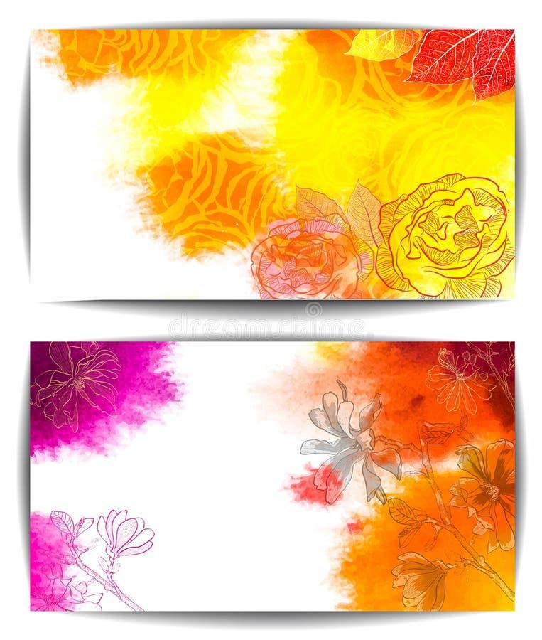 Vattenfärgvektorbaner, hand drog blommor royaltyfri illustrationer