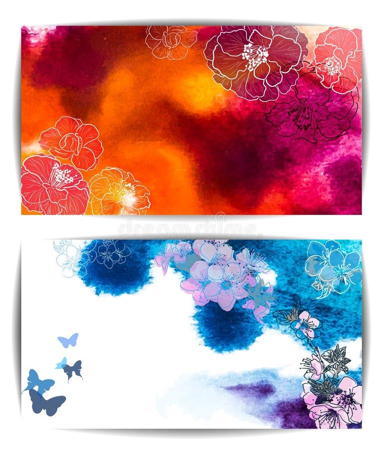 Vattenfärgvektorbanret, den drog abstrakta handen blommar royaltyfri illustrationer