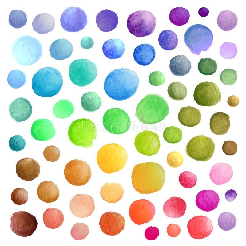 Vattenfärgvektorfläckar stock illustrationer