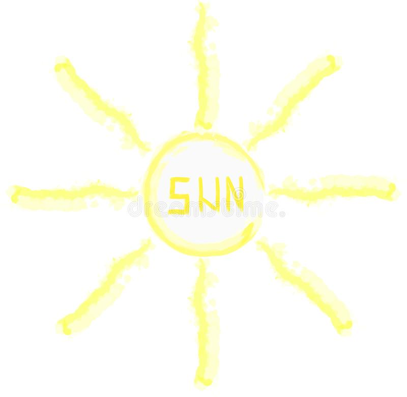 Vattenfärgvektorillustration av solen Barnattraktion arkivfoto