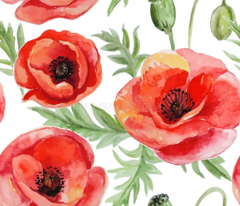 Vattenfärgvektorkrans med blommor och sidor vektor illustrationer