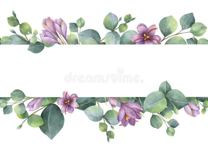 Vattenfärgvektorkransen med gröna eukalyptussidor, lilor blommar och förgrena sig stock illustrationer