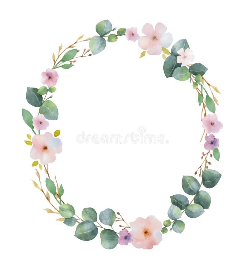 Vattenfärgvektorkransen med gröna eukalyptussidor, rosa färger blommar och förgrena sig stock illustrationer