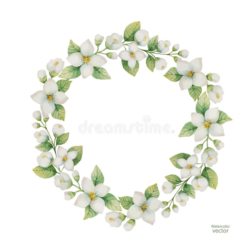 Vattenfärgvektorram av blommor och filialjasmin som isoleras på en vit bakgrund stock illustrationer