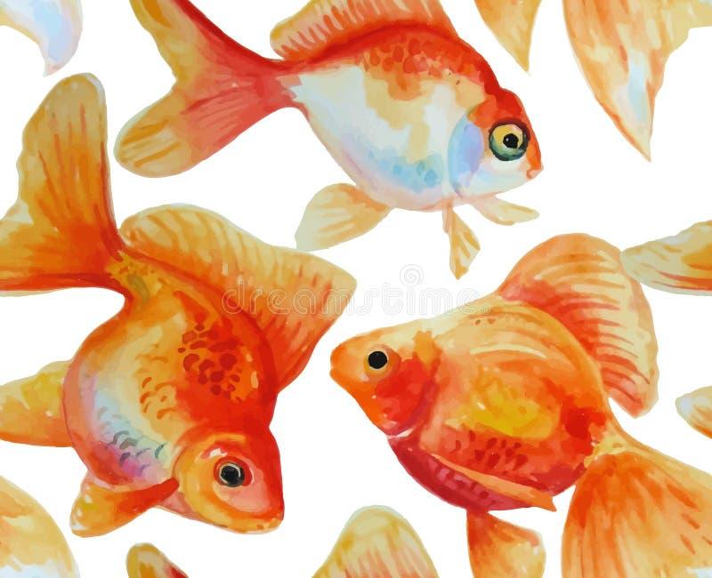 Vattenfärgvektorram med hand drog guldfiskar stock illustrationer