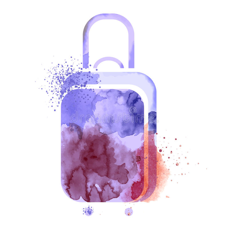 Vattenfärgvektorresväska stock illustrationer