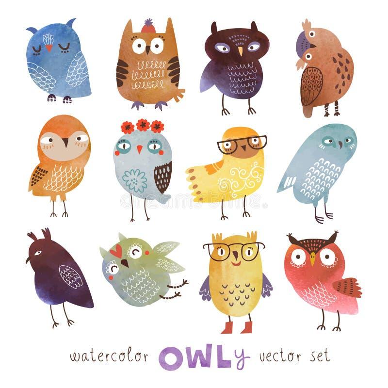 Vattenfärgvektoruppsättning 12 roliga ugglor stock illustrationer