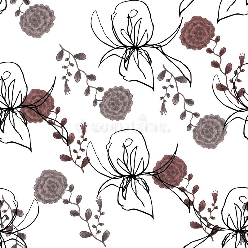 Vattenfärgvildblomma och Rose Graphic på en vit bakgrund stock illustrationer