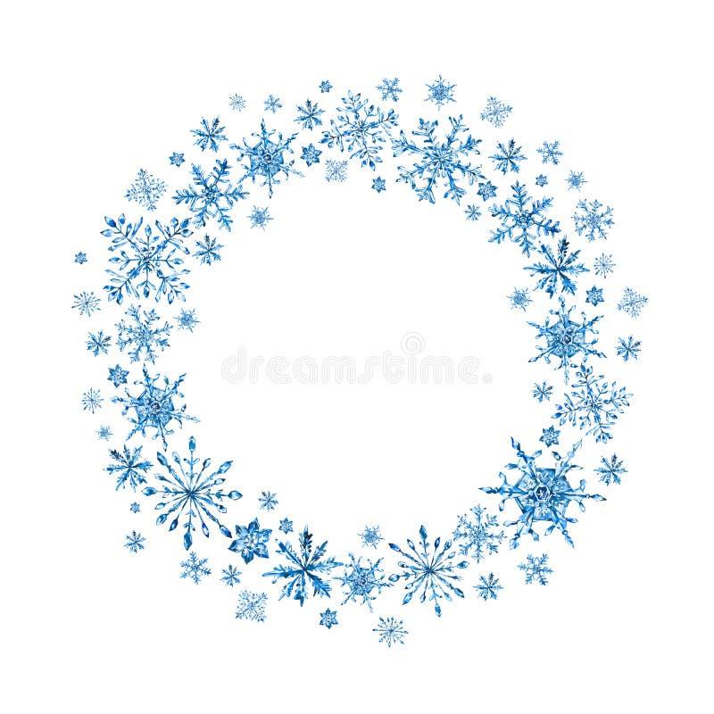 Vattenfärgvinterkrans med snöflingor royaltyfri illustrationer