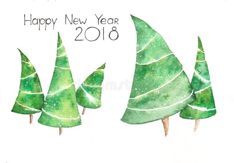 Vattenfärgvykort till det lyckliga nya 2018 året stock illustrationer