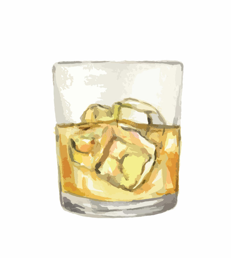 Vattenfärgwhiskyexponeringsglas royaltyfri illustrationer