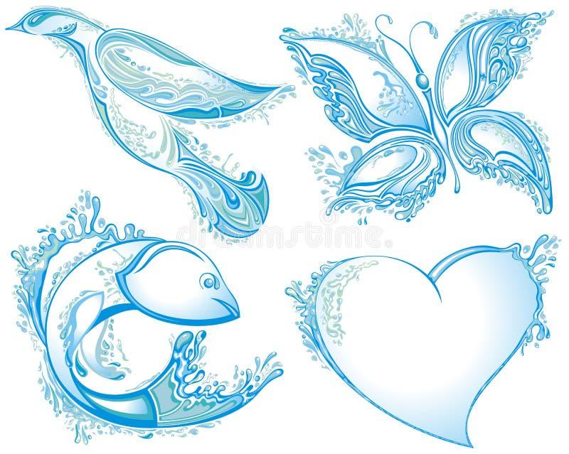 Vattenfågel, fjäril, fisk, hjärta Bevattna f?rgst?nk royaltyfri illustrationer