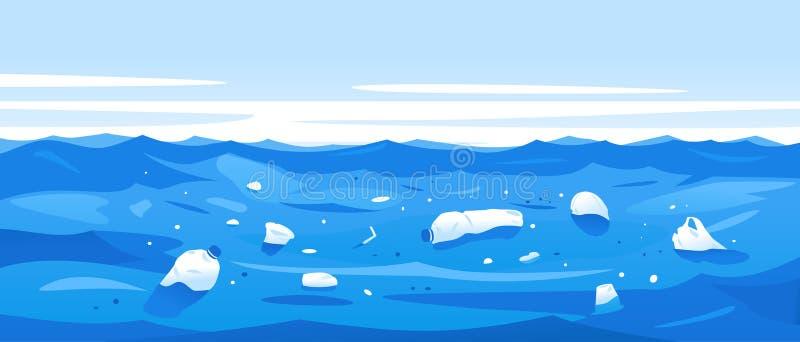 Vattenförorening av plast- rackar ner på royaltyfri illustrationer