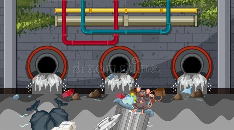 Vattenförorening från stadsavrinningen royaltyfri illustrationer