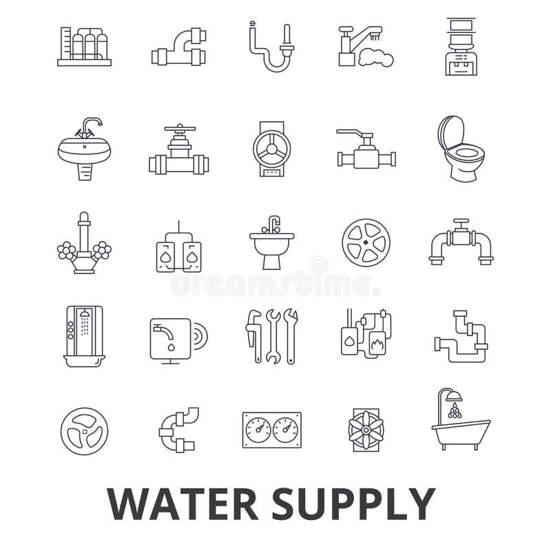 Vattenförsörjning rör, dränering, hvac, pump, bevattning, behållarlinje symboler Redigerbara slaglängder Plan designvektor royaltyfri illustrationer