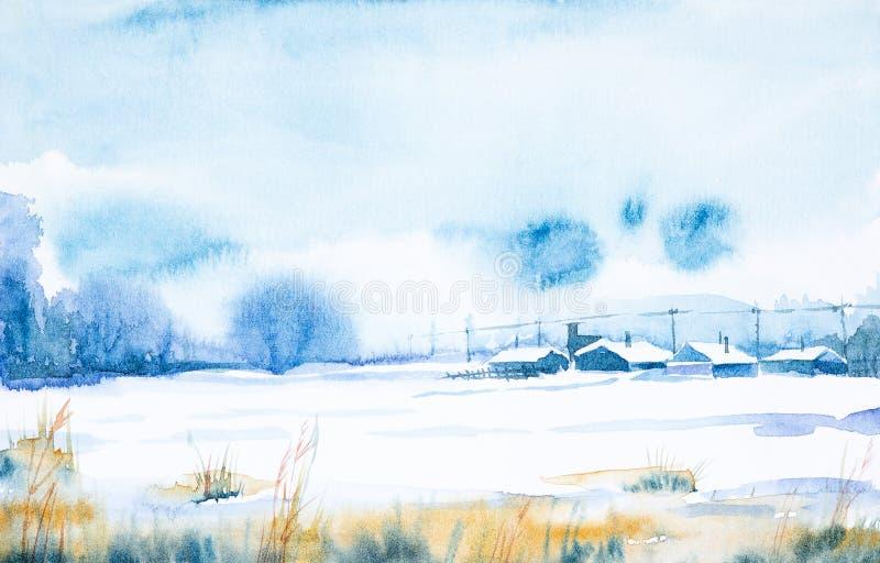 vattenf?rg f?r park f?r h?stbroliggande liten Djupfryst dag för vinter i den ryska byn royaltyfri illustrationer