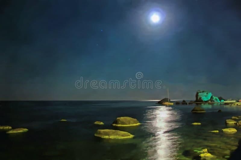 vattenf?rg Seascapehav Nattsikt av havet fr?n stadspir vektor illustrationer