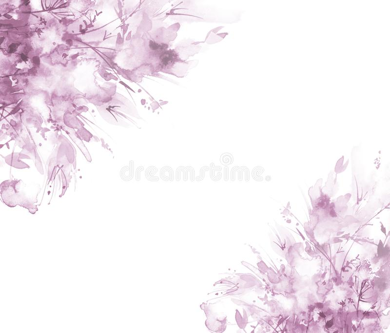 Vattenf?rgbukett av blommor, h?rlig abstrakt f?rgst?nk av m?larf?rg, modeillustration Orkidéblommor, vallmo, blåklint, rosa sa stock illustrationer