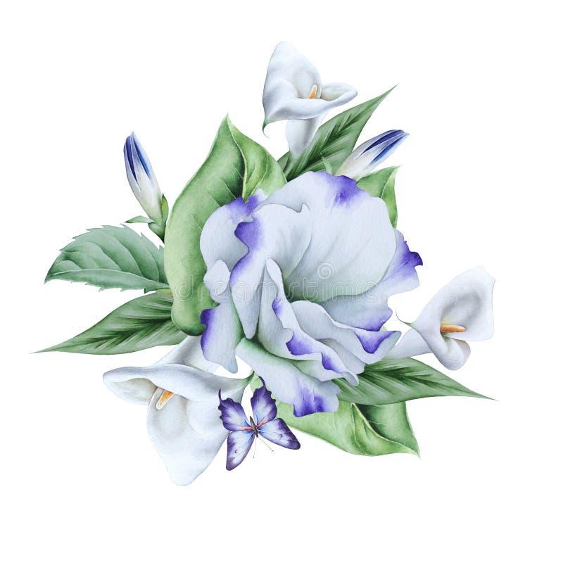 Vattenf?rgbukett med blommor illustration calla Eustoma royaltyfri illustrationer
