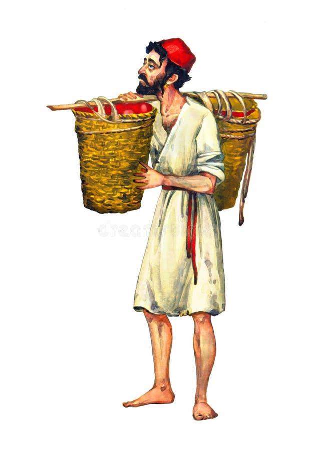 Vattenf?rgen skissar Historisk slav- man för jude royaltyfri illustrationer