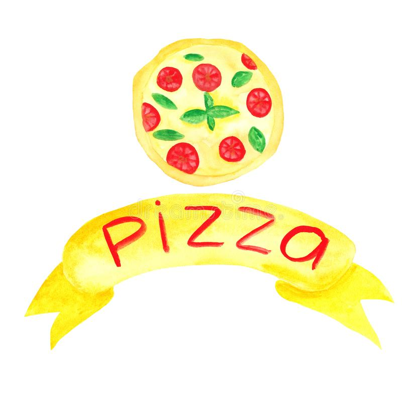 Vattenf?rgen st?llde in med pizza, pizzaskivor, pizzainskrift royaltyfri illustrationer