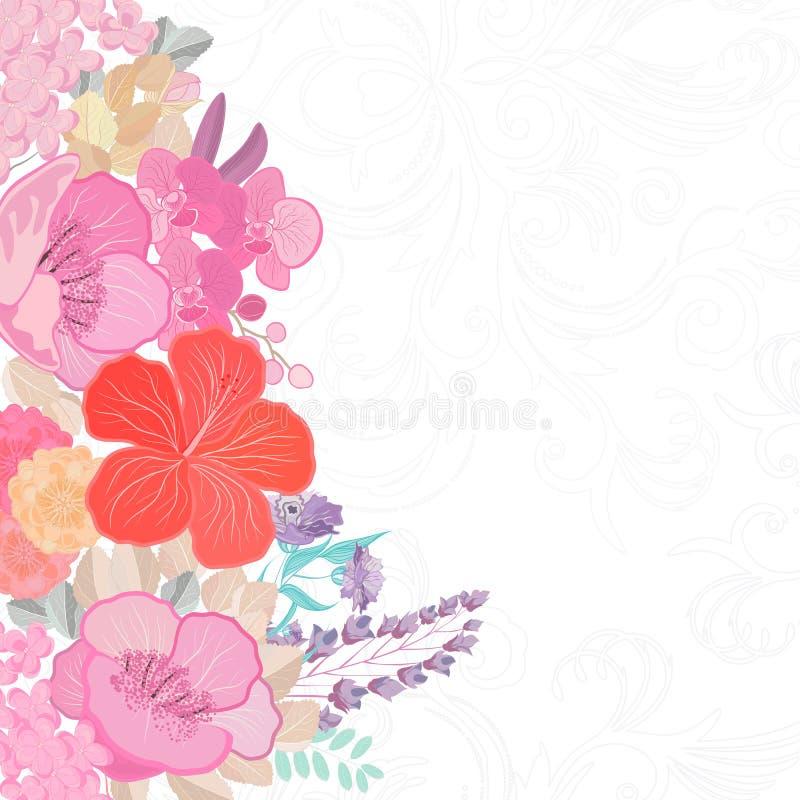 Vattenf?rgf?rger blommar bakgrund V?rnaturdesign med blom- filialer abstrakt illustration stock illustrationer