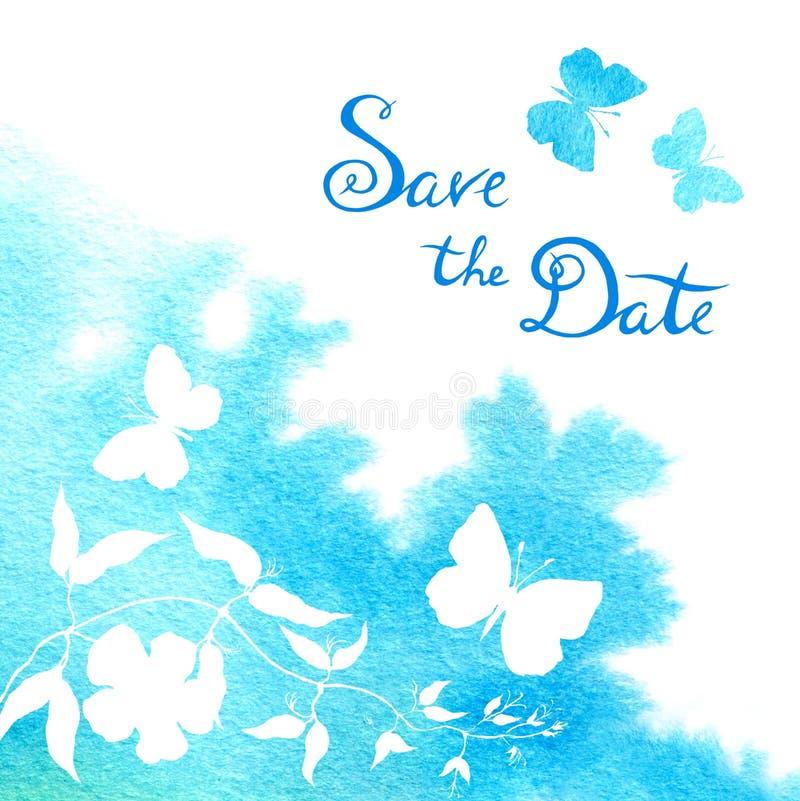 Vattenf?rgfl?ck och fl?de Bröllopkortet med fjärilar, sparar datumtexten stock illustrationer