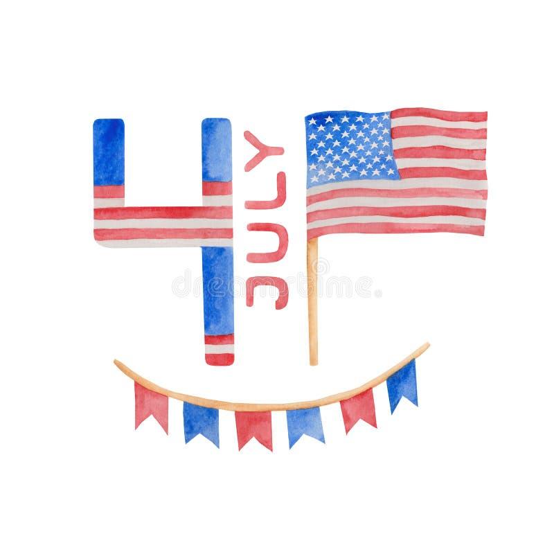 Vattenf?rgillustration 4th av den juli sj?lvst?ndighetsdagen i USA royaltyfri illustrationer