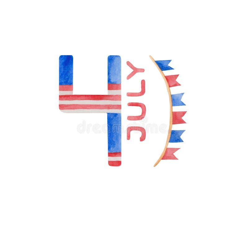Vattenf?rgillustration 4th av den juli sj?lvst?ndighetsdagen i USA stock illustrationer