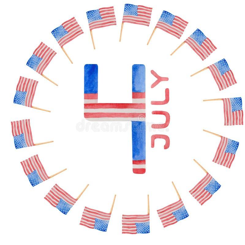 Vattenf?rgillustration 4th av den juli sj?lvst?ndighetsdagen i USA vektor illustrationer