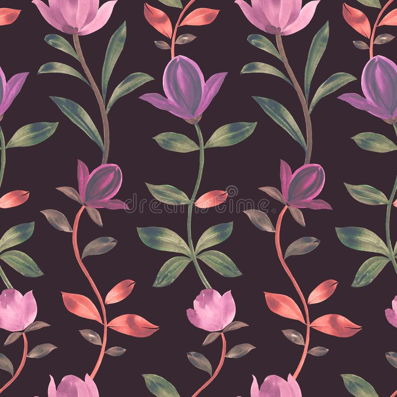 Vattenf?rgmodell blommar magnoliaen dekorativ prydnad royaltyfri illustrationer