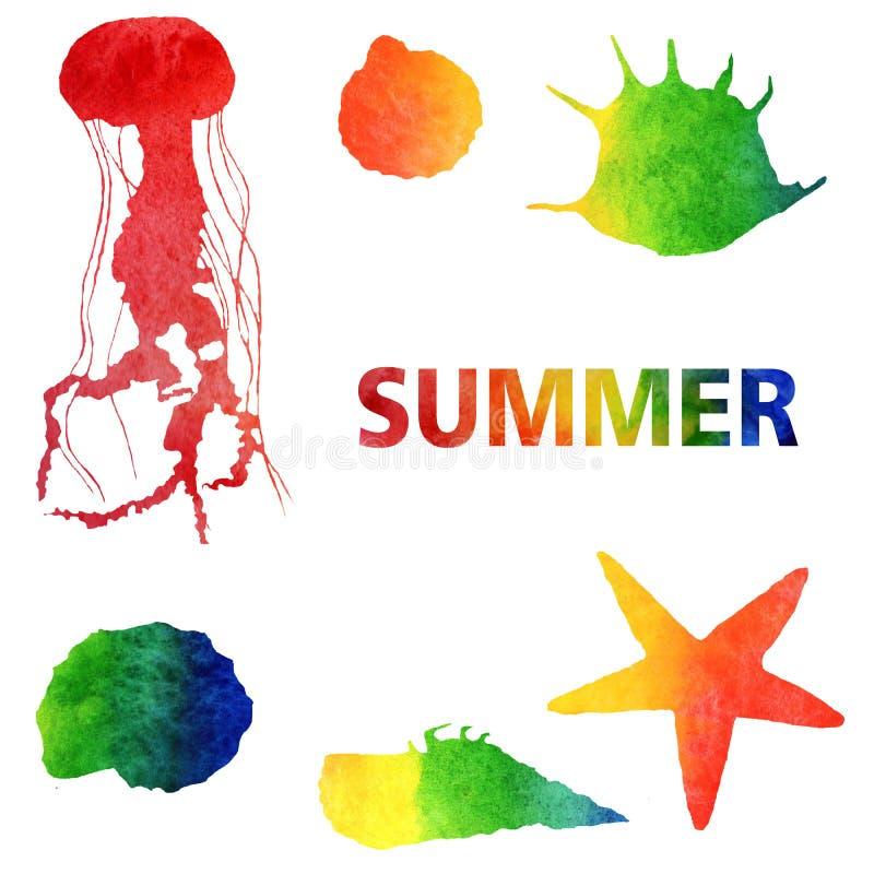 Vattenf?rgsommarillustration Ställ in av regnbågegelé-fisk och skal stock illustrationer