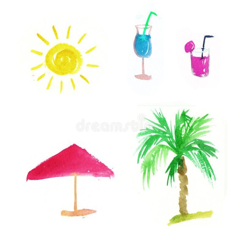 Vattenf?rgsommarupps?ttning sol palmträd, exponeringsglas med coctailen vektor illustrationer
