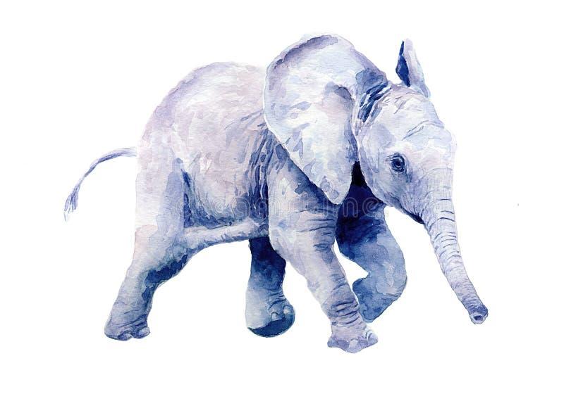 Vattenf?rgteckning av lite att behandla som ett barn elefanten stock illustrationer