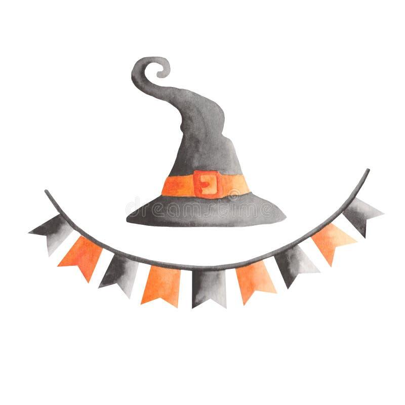 Vattenf?rgupps?ttning f?r halloween Pumpa h?xahatt, kvast, girland, lykta, slagtr?, bollar, spindeln?t, spindel vektor illustrationer
