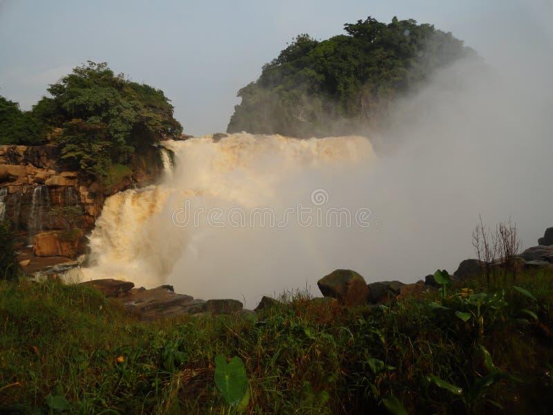 Vattenfall av Congoet River nära Kinshasa royaltyfria bilder