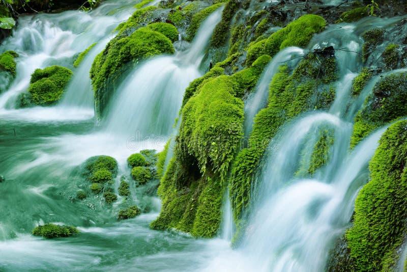 Vattenfall för naturlig vår fotografering för bildbyråer