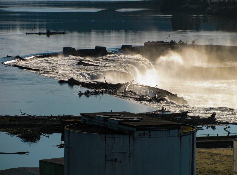 Vattenfall för Willamette flodgränsmärke, Oregon stad USA royaltyfria foton